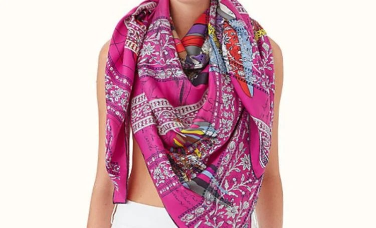 Hermes Pegase au Bloc embroidered scarf 140