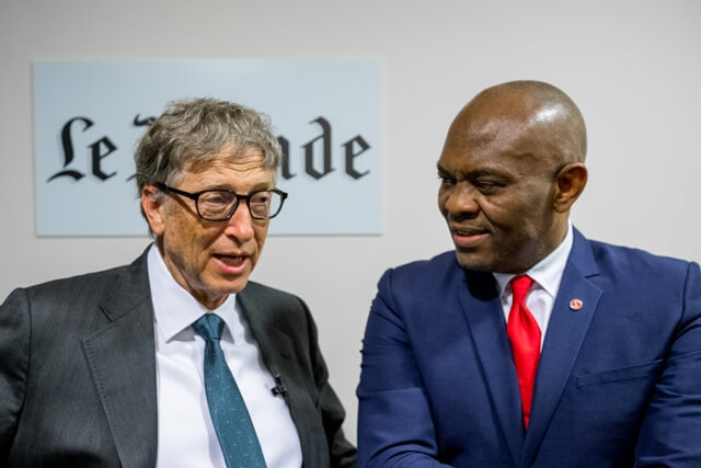 Founder, Bill & Melinda Gates Foundation, Bill Gates and Founder, The Tony Elumelu Foundation, Tony Elumelu, co-panelists at the Le Monde Philanthropy Forum held at the Le Monde headquarters in Paris on Monday.