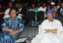 L-R: Minister of Finance, Mrs Kemi Adeosun, who represented the Acting President, Prof. Yemi Osinbajo, and the host Minister of Information and Culture, Alhaji Lai Mohammed, at the opening of the two-day Creative Industry Financing Conference in Lagos on Monday.