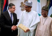 L-R: UNWTO Secretary-General, Zurab Pololikashvili, Nigeria President, Muhammadu Buhari, Information Minister, Lai Mohammed at the State House, Abuja