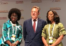 (L-R): Chairman, Board of Trustees, WIMBIZ, Ms. Funmi Roberts; United States Consul General F. John Bray; and Chairperson, Executive Council, WIMBIZ, Ms. Olubunmi Aboderin-Talabi; during the 17th Annual Conference of WIMBIZ, on Friday, November 2.