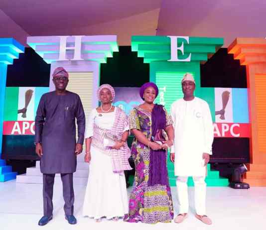 L-R.Mr. Babajide Sanwo-Olu, APC governorship candidate, his wife, Dr. Ibijoke Sanwo-Olu, Mrs. Oluremi Hamzat and her husband, Dr. Obafemi Hamzat