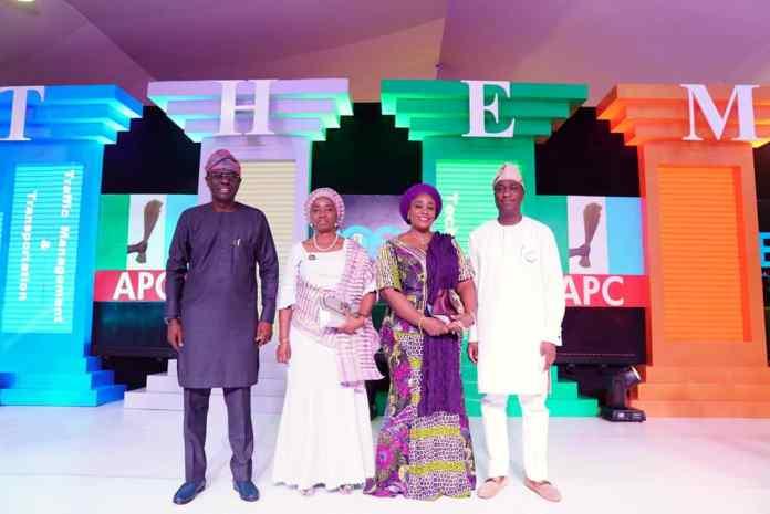 L-R.Mr. Babajide Sanwo-Olu, APC governorship candidate, his wife, Dr. Ibijoke Sanwo-Olu, Mrs. Oluremi Hamzat and her husband, Dr. Obafemi Hamzat