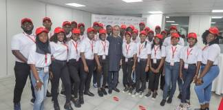 Group Executive, Digital and Consumer Banking, United Bank for Africa, Anant Rao (Middle), with the 2019 UBA Campus Ambassadors during their Unveiling at the UBA Group Head Office in Lagos at the Weekend