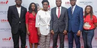 l-r: Head, Brand Management, United Bank for Africa (UBA) Plc. Lashe Osoba; Officer,, Lagos Lottery Board, Nike Oyebamiji; Head Lagos Office, Consumer Protection Council, (CPC) Susie Onwuka; Executive Director, UBA Plc, Liadi Ayoku; Head, FMCG, UBA Plc. Isiuwe Chike; and Mass Retail/Agent Banking Manager, UBA Plc, Bolajoko Agunlejika at the 2nd Quarterly Draw of UBA Wise Savers Promo where 20 Savings Account Holders won N1.5m each, in Lagos on Thursday