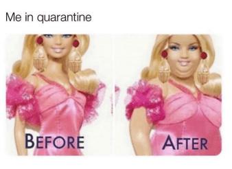 weight during quarantine meme