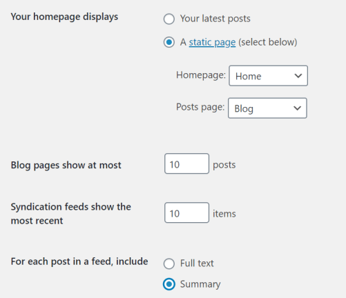 reading blog settings