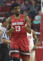 Feb 20, 2016; Lincoln, NE, USA; Ohio State Buckeyes guard JaQuan Lyle (13) gestures during the game against the Nebraska Cornhuskers in the first half at Pinnacle Bank Arena. Mandatory Credit: Bruce Thorson-USA TODAY Sports