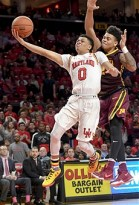 COLLEGE PARK, MD - FEBRUARY 22: Maryland Terrapins guard Anthony Cowan (0) drives to the basket in the second half against Minnesota Golden Gophers guard Nate Mason (2) on February 22, 2017, at Xfinity Center in College Park, MD. The Minnesota Golden Gophers defeated the Maryland Terrapins, 89-75. (Photo by Mark Goldman/Icon Sportswire)