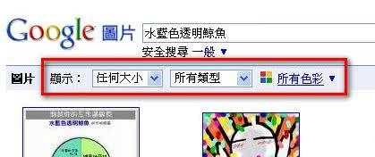 Google圖片搜尋新增的控制選項