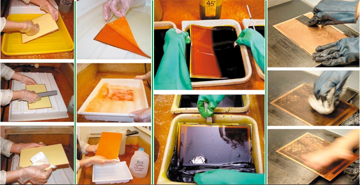 The steps of the photogravure process (wikipedia)