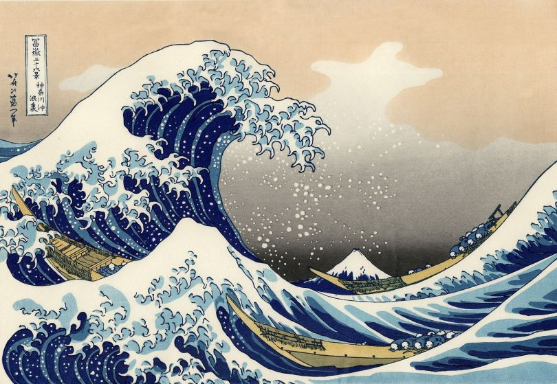 The Great Wave off Kanagawa, full-colour ukiyo-e woodblock print, Hokusai, c. 1829–32
