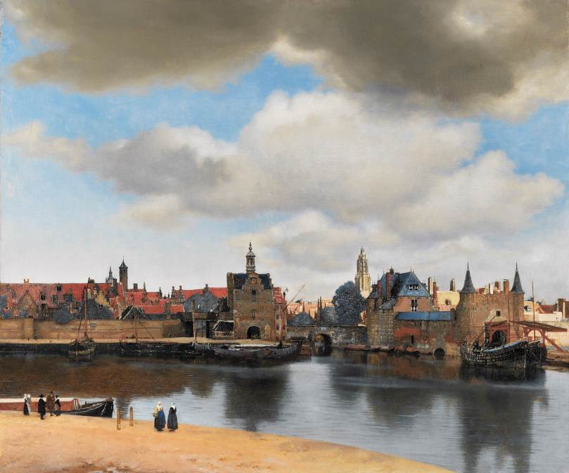 View of Delft in oil paint, by Johannes Vermeer.