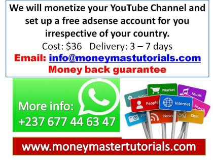 Monetize your YouTube Channel and set up a free adsense account
