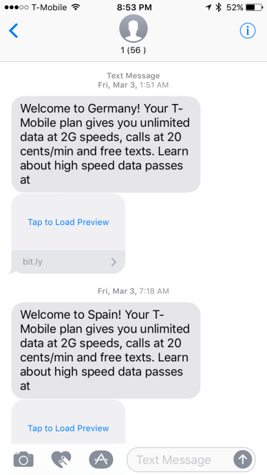T-Mobile Followup – International Features Worked Great and