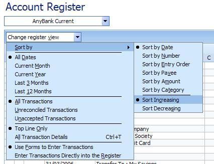 Sorting the check register [Microsoft (MS) Money FAQ and Help]
