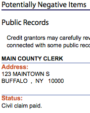 credit score credit report negative items
