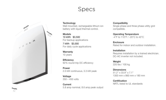 tesla powerwall save money specs