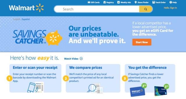 walmart savings catcher website receipt
