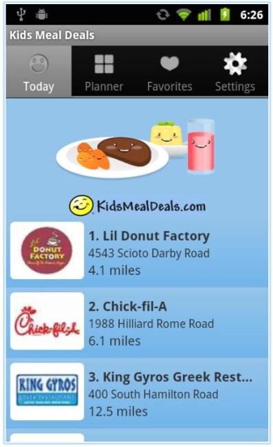 kids eat free app