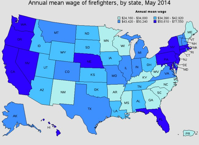 Firefighter salary by state