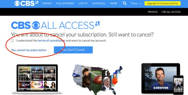 Cancel CBS All Access step 4