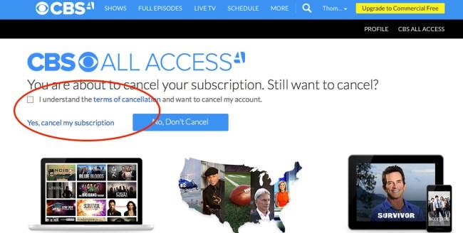 Cancel CBS All Access step 4