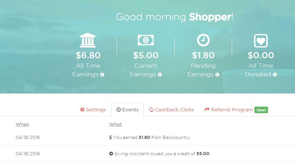 GivingAssistant cashback screenshot