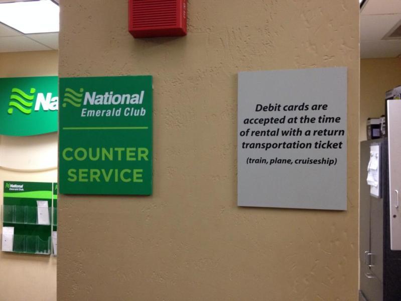 National Rental Car Debit Card Policy