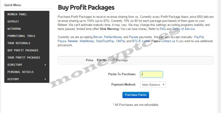 PassiveFund comprar profit packages