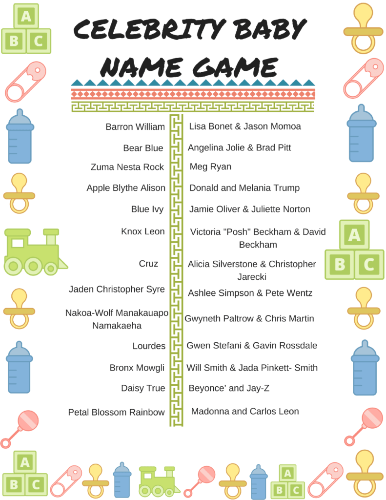 photo about Celebrity Baby Name Game Printable identified as Totally free Printable Child Shower Online games: Superstar Kid Names and