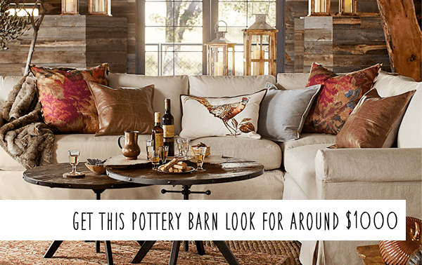 pottery barn living rooms sliding doors for room knockoff fall on a budget money saving