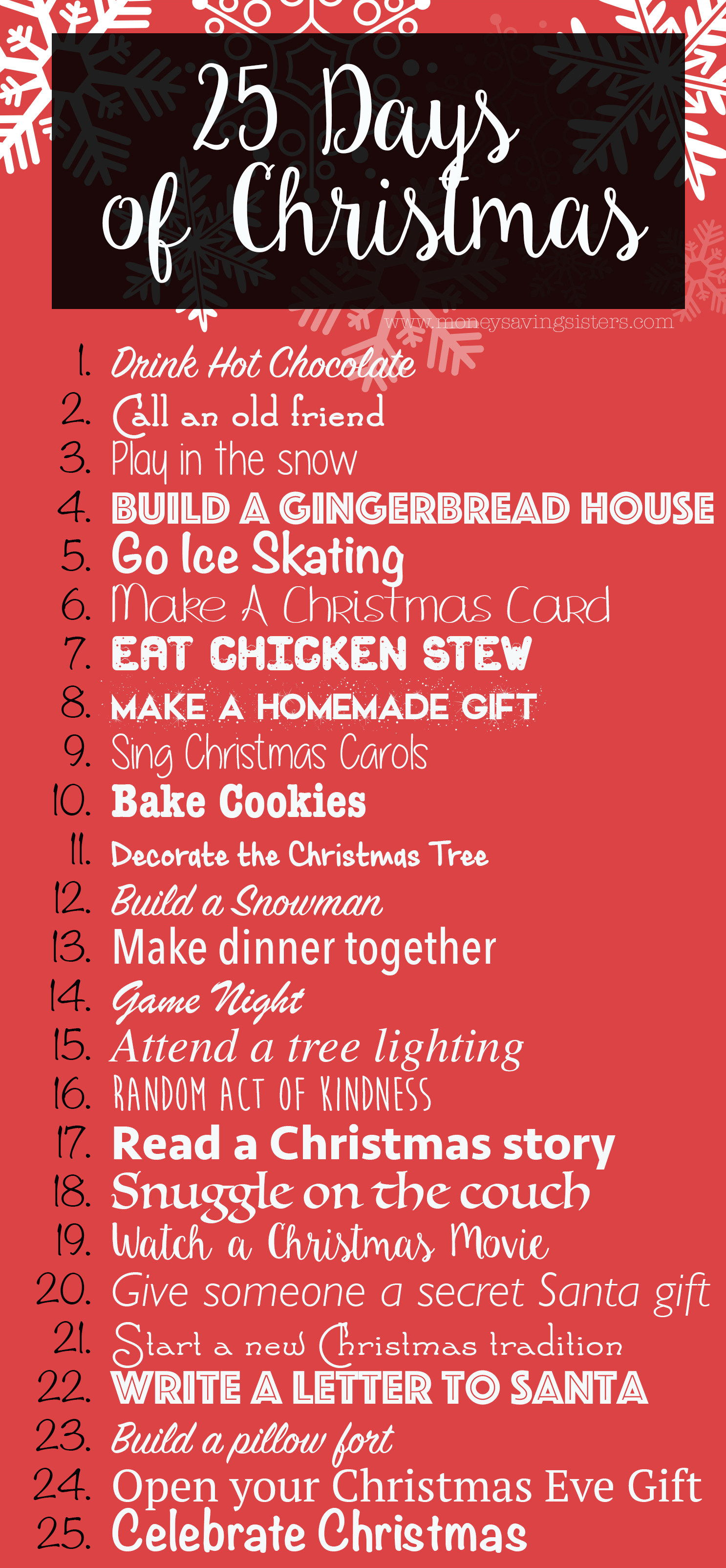 25 Days Of Christmas Activities For The Entire Family