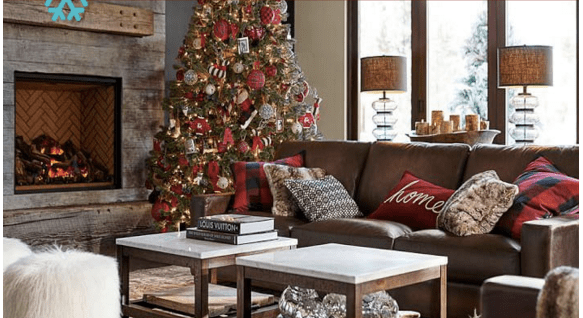 pottery barn living rooms decorating small with corner fireplace christmas room makeover on a budget money