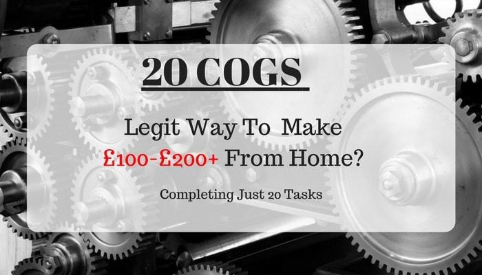 20 Cogs Review: Scam or Legit Way To Make £200+ by Money