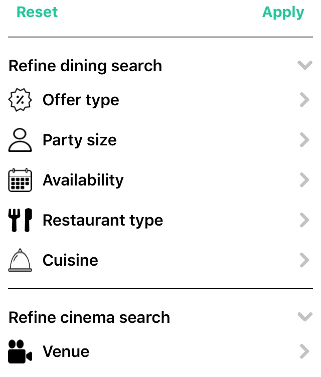 tastecard filter restaurants