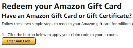 Redeem Amazon gift card