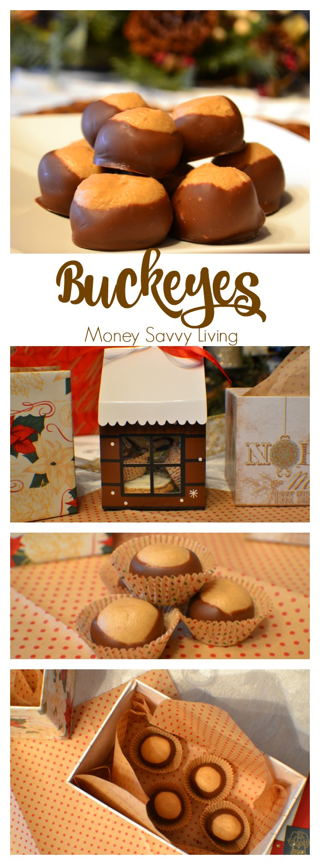 Buckeyes, or peanut butter and chocolate balls, taste just like a Reese's peanut butter cup! You remember the peanut butter squares from lunch when you were a kid? This recipe will definitely remind you of your childhood! #peanutbutter #chocolate #reeses #peanutbuttersquares #buckeyes #gourmet #candy #baking #chirstmas #yum