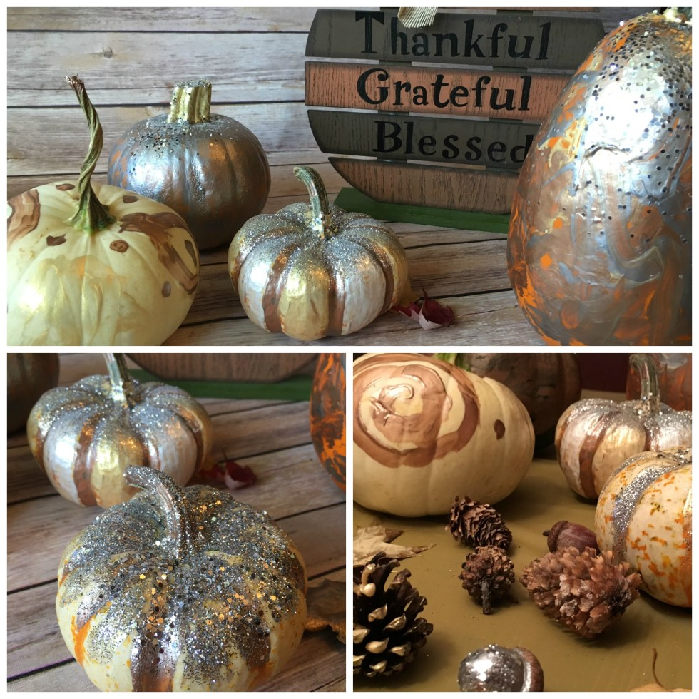 These painted glitter pumpkins are festive for Halloween or Thanksigiving. And they are beautiful and festive fall home decor! #painted #glitter #pumpkins #glitterpumpkin #paintedpumpkin #fallhomedecor #fall #halloween #thanksgiving