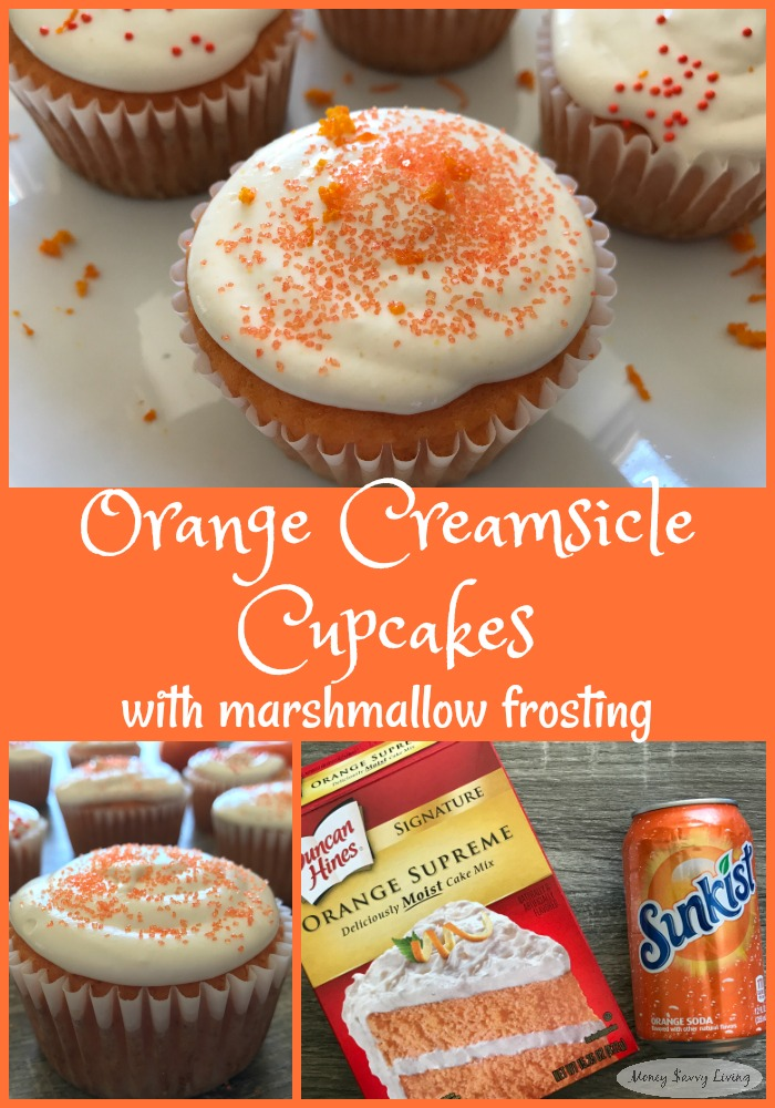 Easy Orange Creamsicle Cupcakes with Marshmallow Frosting // Money Savvy Living #creamsicle #cupcakes