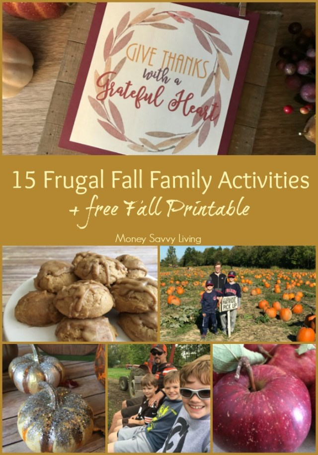 15 Frugal Fall Family Activities // Money Savvy Living #fall #family #familyfun #familyactivities #autumn #fallprintable #printable