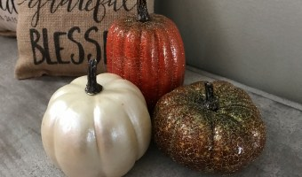 Make your own DIY Glitter Painted Pumpkins this fall! Perfect home decor for Halloween or Thanksgiving! #DIY #pumpkins #Halloween #thanksgiving #glitterpumpkins #paintedpumpkins #homedecor #falldecor