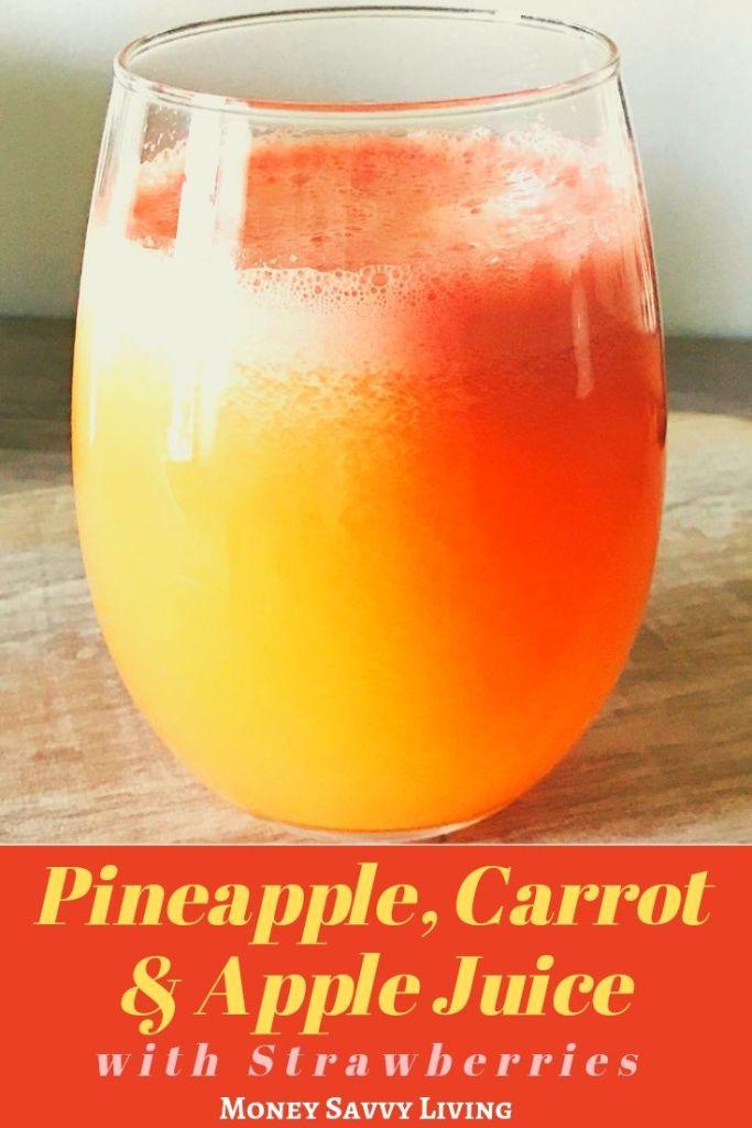 Pineapple, Carrot & Apple Juice with Strawberry #juice #juicerecipe #juicecleanse #fruitjuice #freshfruit #homemadejuice #pineapple #apple #carrot #strawberry