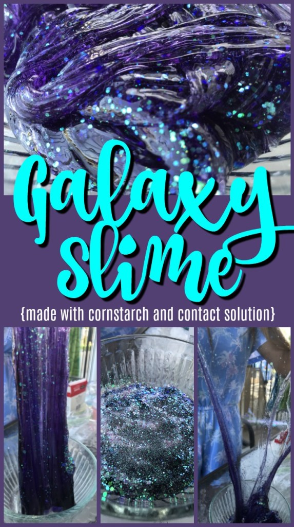 This recipe for making glitter galaxy slime is so simple, all you need to get started making the slime is contact solution, clear glue, and baking soda... #slime #slimerecipe #galaxyslime #contactsolution #clearglue #glitterslime #purpleslime