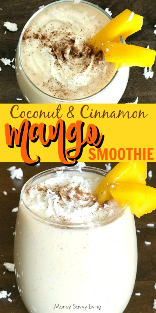 Mango Coconut and Cinnamon Smoothie #smoothie #smoothierecipe #healthybreakfast #healthy #mango #mangosmoothie #coconut #cinnamon #plantbased #proteinpowder #glutenfree #vegan