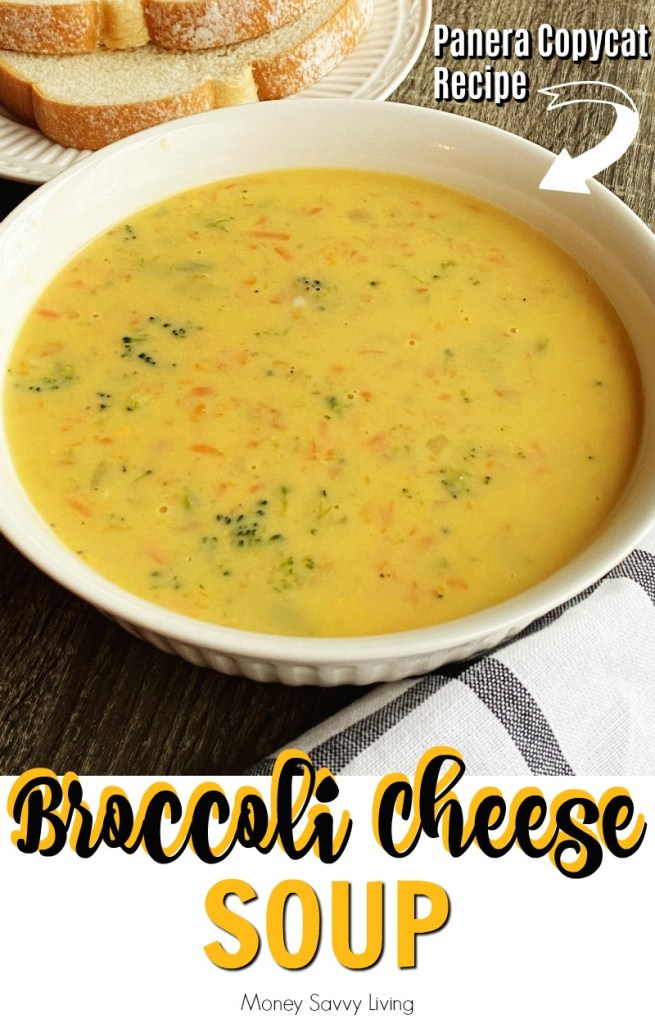 Panera Broccoli Cheese Soup {Copycat Recipe} Who knew it was so easy to make this wonderful soup at home-- and so much cheaper too!  #broccoli #broccolicheese #broccolicheesesoup #soup #panera #copycatrecipe #souprecipe #broccolisoup #cheesesoup