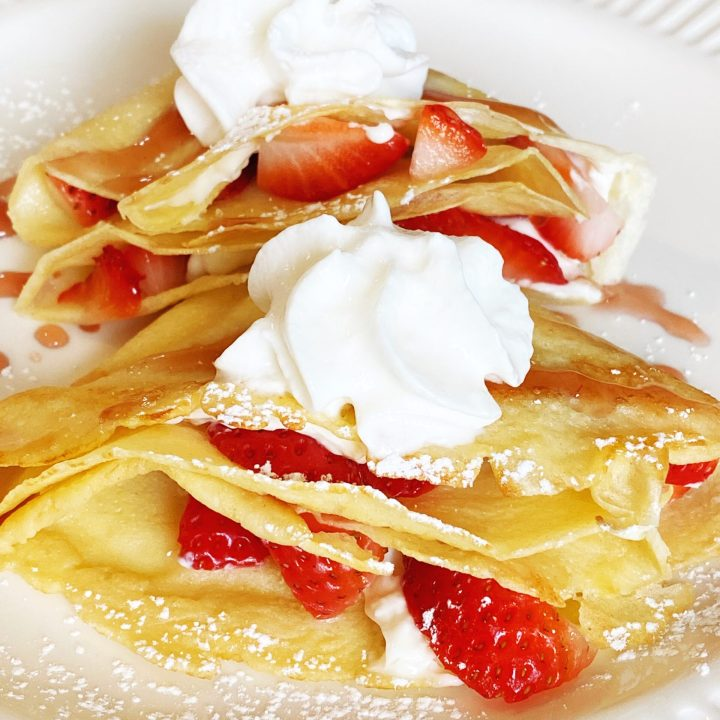 You may think that these Strawberry Cream Cheese Crepes are difficult to make, however, they are actually quite easy! #crepes #crepe #strawberrycreamcheese #creperecipe #strawberrycrepes #strawberry #breakfast #brunch #creamcheese