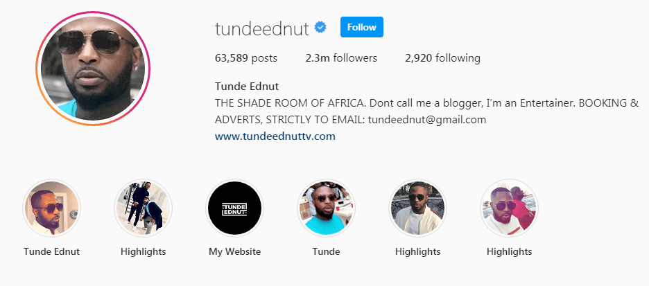 Tunde Ednut Top Most Liked And Commented Pictures On Instagram Moneyscotch Ronkus, check this instagram link and knock yourself out with laughter, was the message i i am not so much into instagram, the packaged and mostly filtered shenanigans, however, tunde ednut. commented pictures on instagram