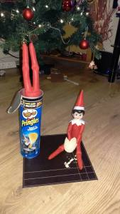 Elf on The Shelf Diving in Pringles