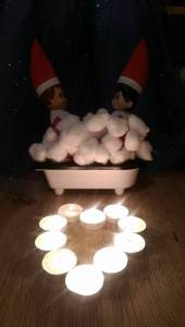 Elf on The Shelf Sharing Romantic Bath